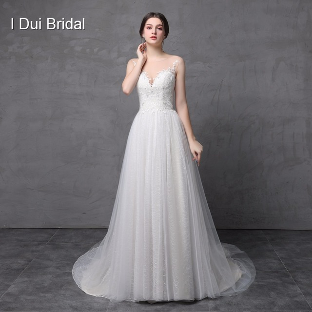 Melinda Wedding Dresses Real Photo Tulle Lace Appliqued Crystal Beaded Illusion Neck A line Bridal Gown ELS-017