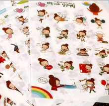 6pcs/lot Korea Happy Girl series PVC sticker Set hot selling decoration packing stickers Kawaii(China)