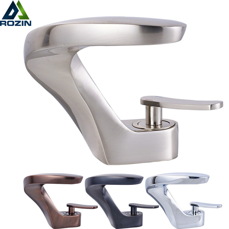 Bathroom Vanity Sink Faucet Oil Rubbed Bronze Washing Basin Sink Taps with Hot and Cold Water Tap Crane