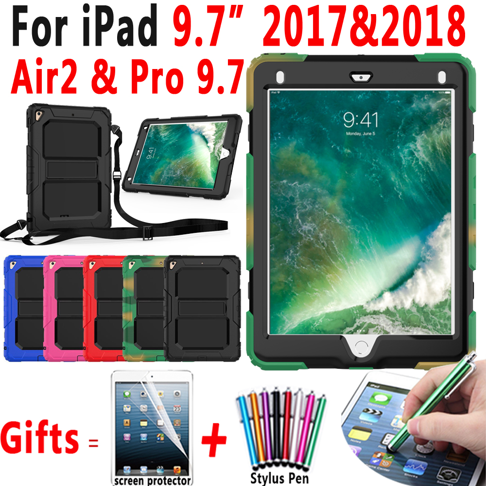 Armor Safe Tablet Shell Case for Apple New iPad 2018 2017 Air 2 6 Pro 9.7 Cover Coque Capa Funda Shoulder Strap Screen Protector e reader case for onyx boox i63ml maxwell case cover coque shell funda hulle custodie