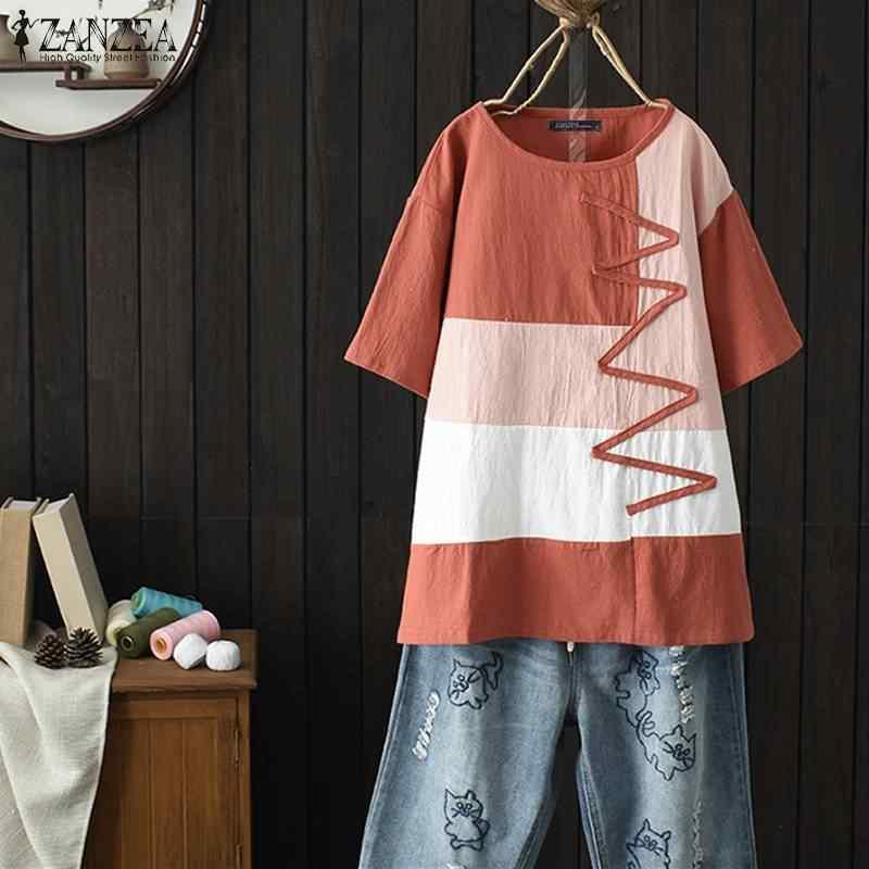 ZANZEA kobiety lato tunika z krótkim rękawem topy koszula vintage szata Femme Patchwork Blusas Plus rozmiar bawełna lniana bluzka koszulka 5XL