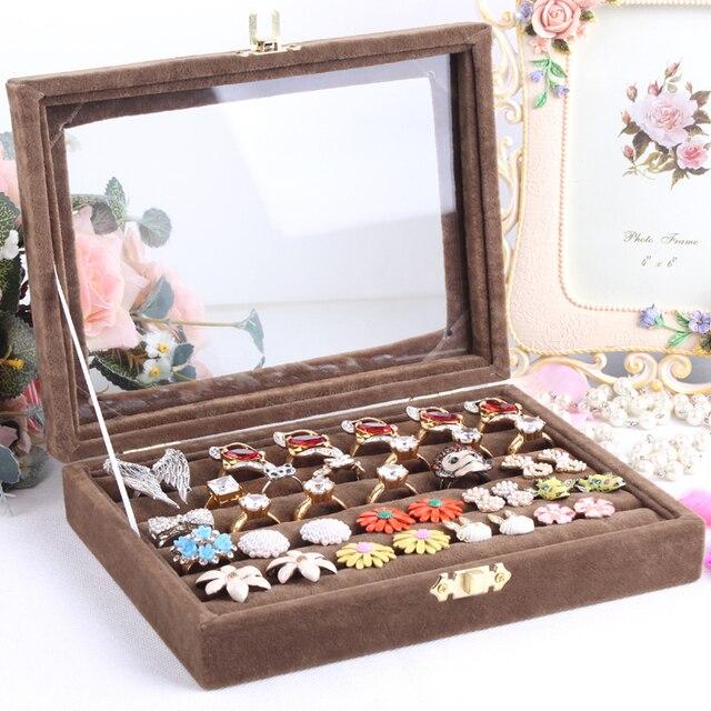 b219d96c7 Small ring jewelry box glass cover ring storage box stud earring box wheel  stud earring jewelry