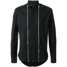 S-6XL! Большие мужские рубашки дизайн сшивание Мужская рубашка черная тонкая мужская куртка на молнии