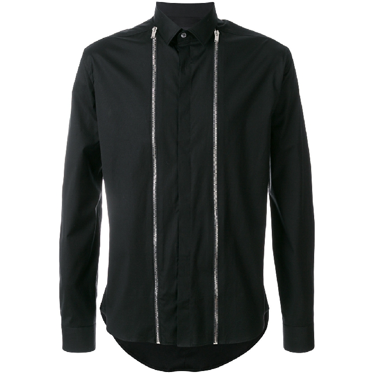 S-6XL! Large Men's Shirts  2019 Original Design Stitching Men's Shirt Black Slim Zipper Men's Jacket