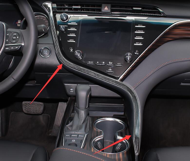 Toyota Camry Interior >> Us 47 99 20 Off High Quality Abs Carbon Fiber Interior Trim Strips Above Stall 2018 For Toyota Camry In Interior Door Panels Parts From
