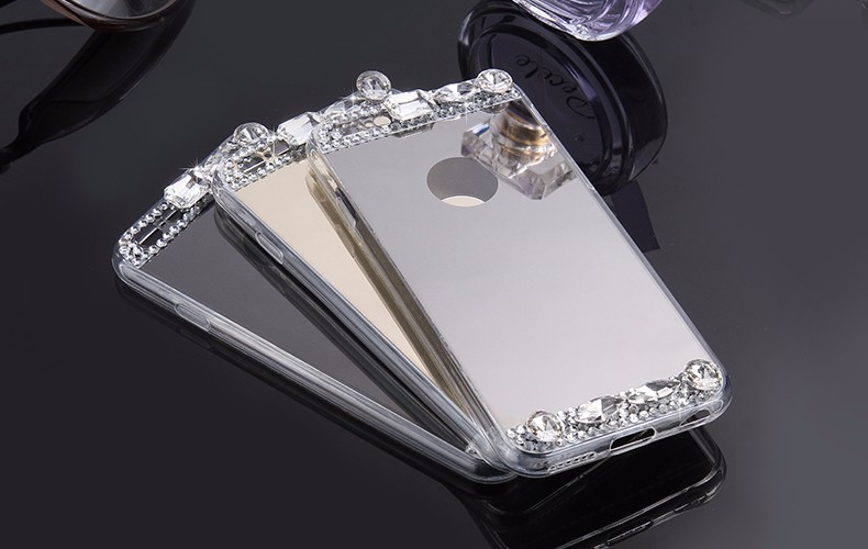 6S 7 Plus Luxury Diamond Glitter Mirror Case For Apple iPhone7 Plus 6 6s Plus 5 5S SE Dual Layer Bling TPU Slim Clear Back Cover (1)