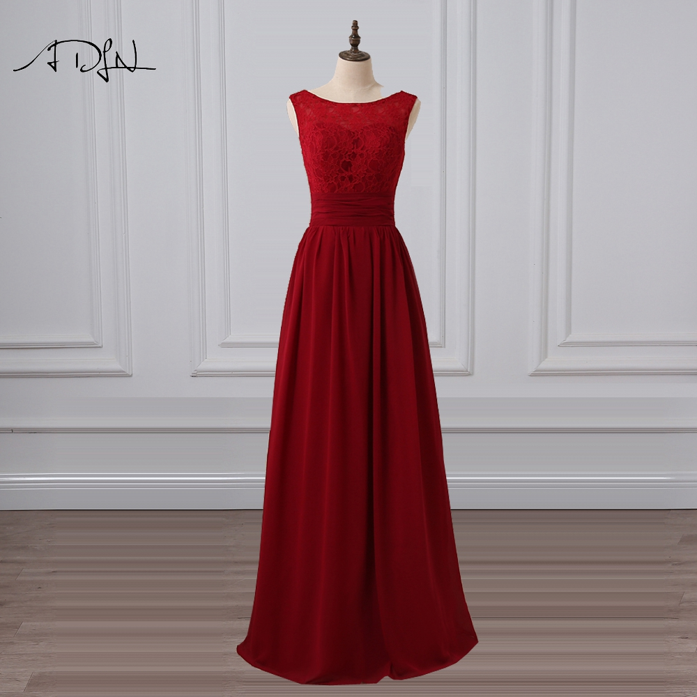 ADLN Scoop Sleeveless Burgundy   Bridesmaid     Dresses   A-line Lace Wedding Guest   Dress   Chiffon Maid of Honor Gown Customized 2019