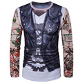 2017 Man Fashion 3D Skin Vest Tattoo Flower Arm Printing Long Sleeve Round Neck tshirt homme male shirt Free shipping