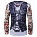 2017 moda homem 3d skin colete tatuagem braço flor impressão manga comprida em torno do pescoço camiseta homme camisa masculina frete grátis