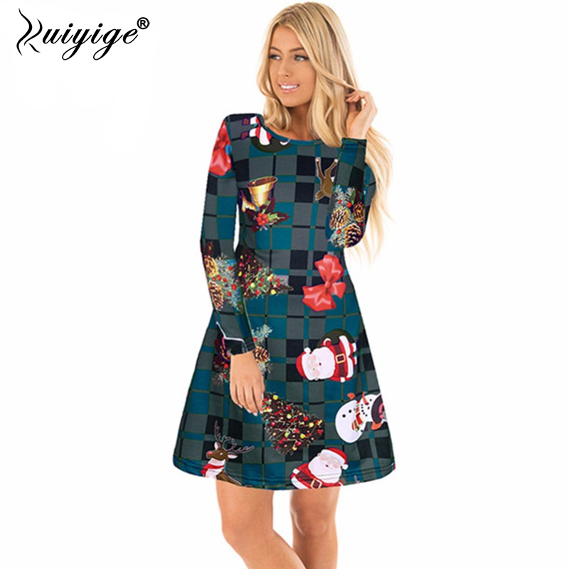 7773ba070ae9 Detail Feedback Questions about 2018 Ruiyige Plus Size S 2XL Winter Christmas  Party Mini Robes Women Casual Long Sleeve O Neck Xmas Print Dress New Year  ...