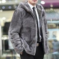 2017 Mink Marten Men S Leather Overcoat Turn Down Collar Homens Jaqueta De Couro Leather Hooded