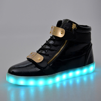 LED Light Shoes Men Women 7 Colors Glowing Fashion Led Shoes Flats High Top Adults Lumineuse