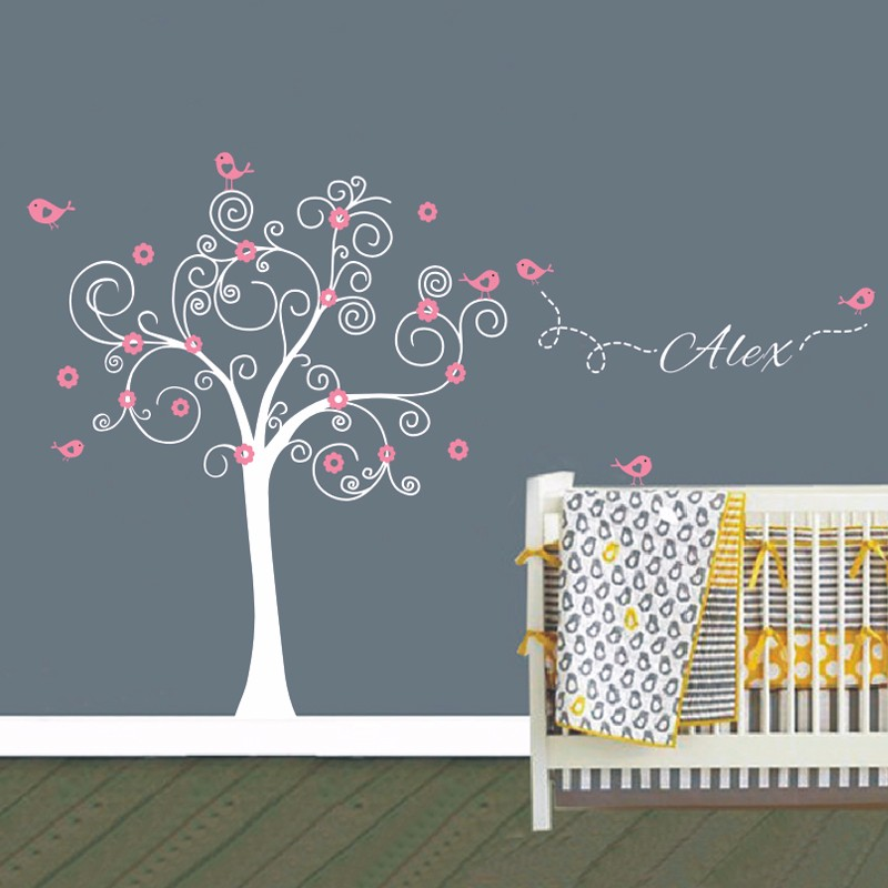 Huge Nursery Tree Wall Decals With Birds Flowers Vinyl Wall Sticker Removable Nursery Playroom Girls Baby Room Wall Stickers