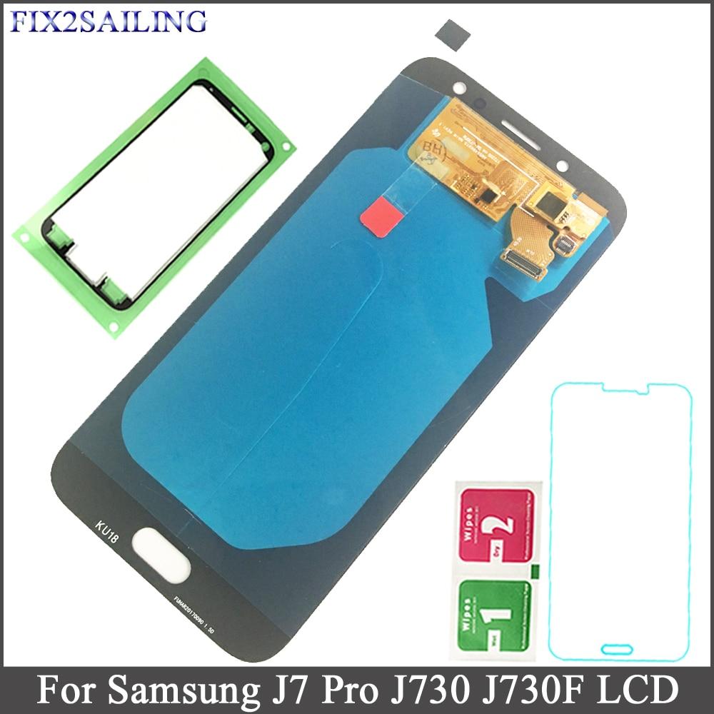 FIX2SAILING Super AMOLED Pour Samsung Galaxy J7 Pro 2017 J730 J730F L'assemblée de convertisseur analogique-Numérique D'écran Tactile d'affichage d'affichage à cristaux liquides de Remplacement