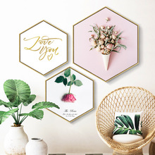Small fresh mural this is Love Hexagon decorative painting living room Creativity Art paintings frame Hanging picture