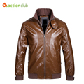 Factory Men Collar Leather Jacket Fashion Brand Soft Men's Leather Coat Spring Autumn Slim Thin Lather Coat Men Clothing