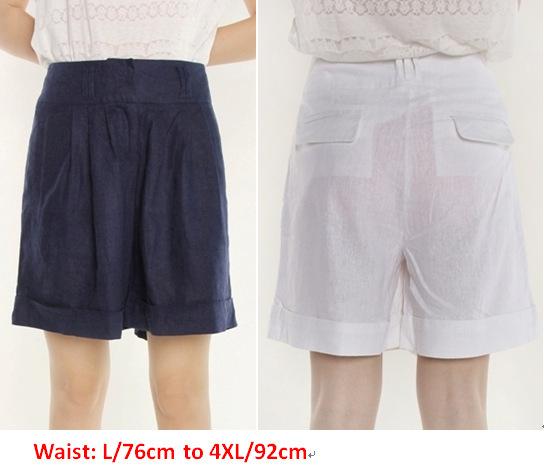 L XL XXL XXXL XXXXL navio Livre novo 2015 mulheres shorts verão tamanho grande de algodão de linho branco azul harém causal da senhora da forma
