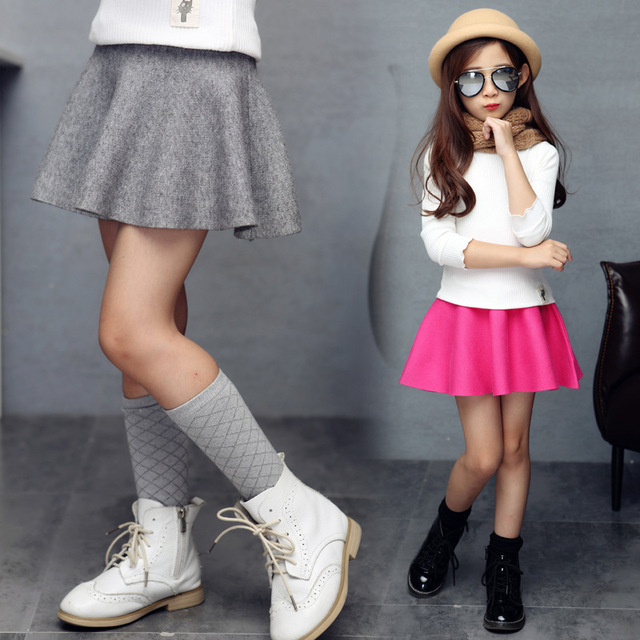 New Arrival Children High Waist Shirt Soild Knee-Length Ruffles Skirt Girls 5-14Years Old Kid's Pleated Fashion Short Skirt