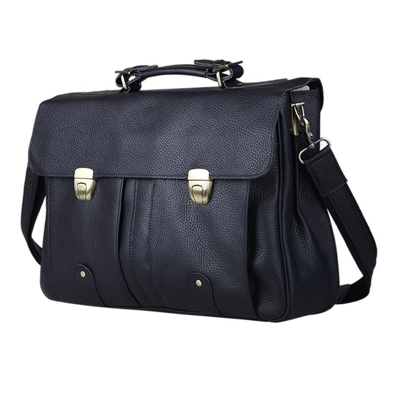 FANCODI Genuine Leather Briefcase Men Business Bag Men Briefcase Leather 15