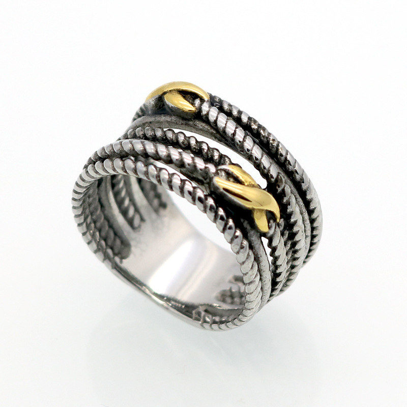 Винтаж Античная Ретро Нержавеющаясталь PVD покрытие Серебряные кольца для Для женщин ювелирные изделия тайский Серебряные кольца