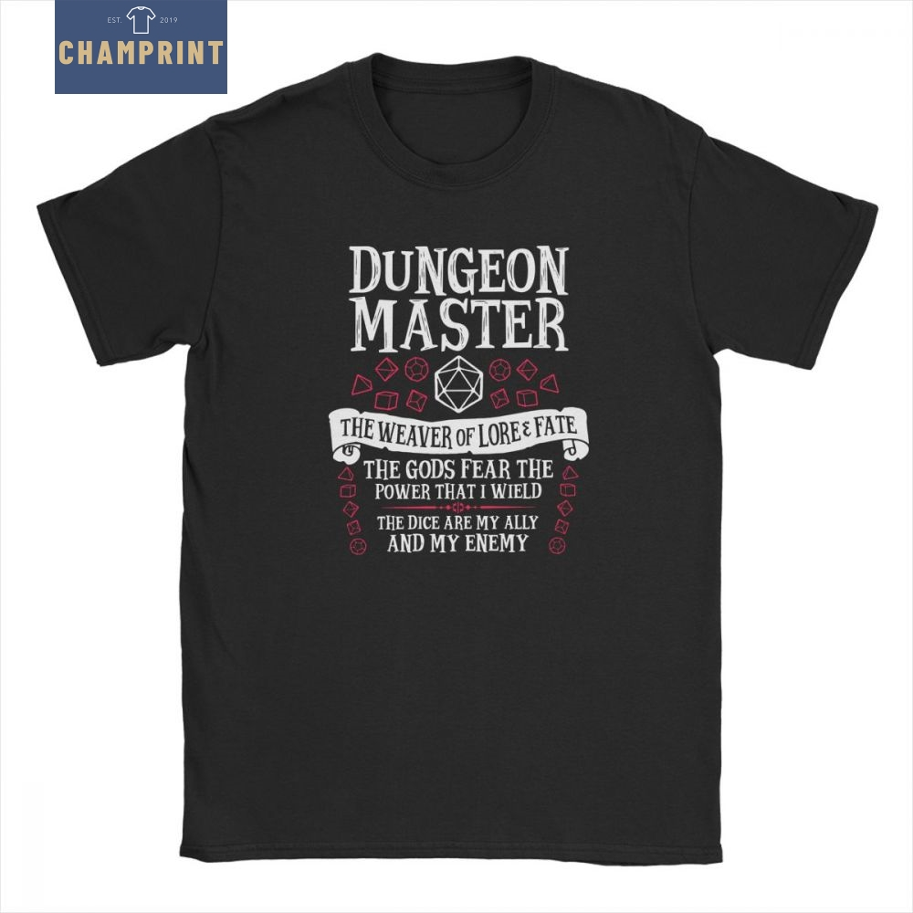 Dungeon Master The Weaver Of Lore Fate T-Shirts For Men Dungeons And Dragons DnD Funny Tees Crewneck Cotton Tops Graphic T Shirt