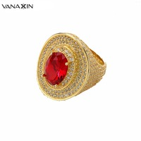 VANAXIN 925 Sterling Silver Mens Womens Rings Oval Cut With Red Blue Green CZ Opal Gold Ring Punk Party Hip Hop Iced Jewelry Box