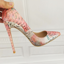 2019 Fashion free shipping Women pink python Leather Poined Toe Stiletto high heel shoe pump HIGH-HEELED SHOE Wedding shoes