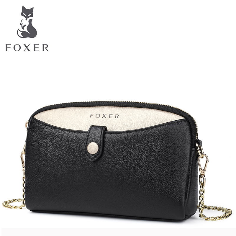FOXER Women Leather Chain Crossbody Bags Cowhide Lady Fashion Shoulder Bag Luxury Messenger Bag for Female Simple Small Bag 2018 new foxer brand women leather bag high quality fashion chains women shoulder messenger bag cowhide black simple small bag