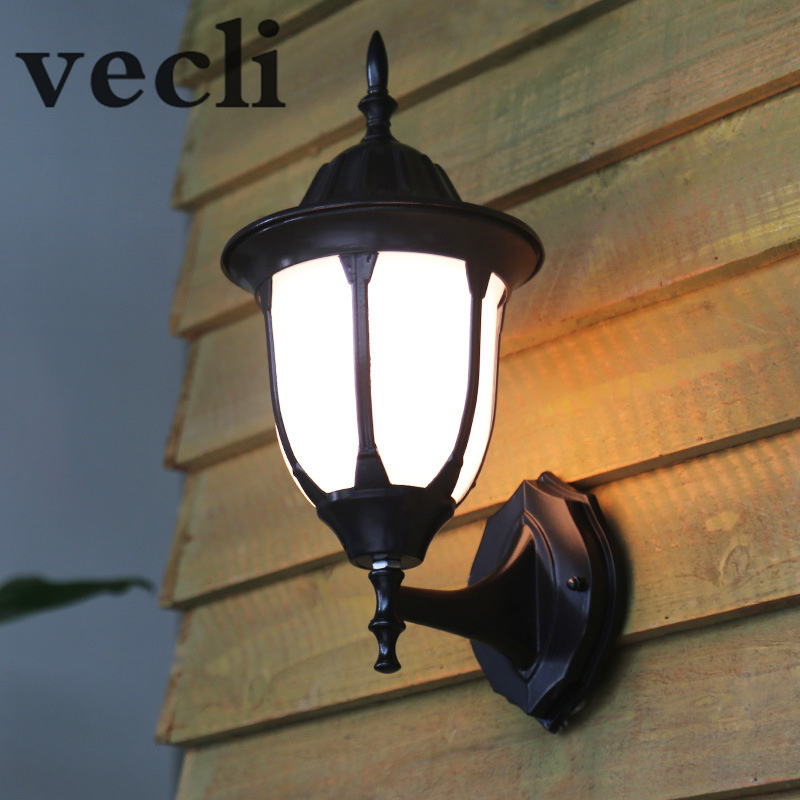 Europe outdoor wall lamp waterproof garden lights retro creative acrylic shade fence lighting