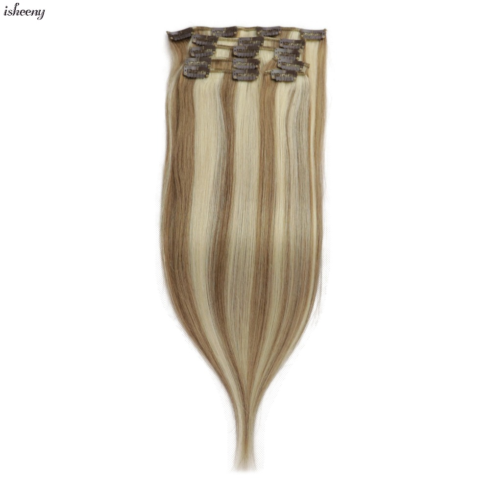 Isheeny 7pcs/set Remy Clip Full Head Human Hair Extensions Straight 12