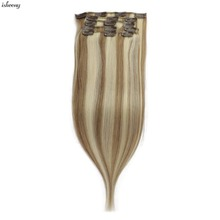 Isheeny 7pcs/set Remy Clip Full Head Human Hair Extensions Straight 12-22 In Extension