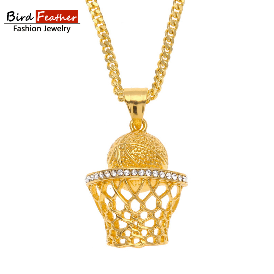 Bird Feather Stainless Steel Necklace for men women BasketBall-Nets Pendant  Chain Necklaces   Pendants Hip Hop Fashion Jewelry 78511cf7b8