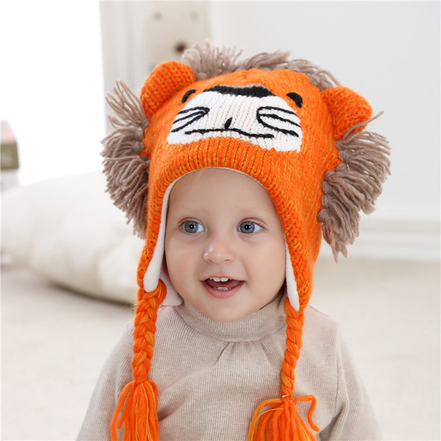 007a56b379dbe Lion Winter Baby Boys Girls Hat Warm Ear Flap Toddler Winter Hat with Lining