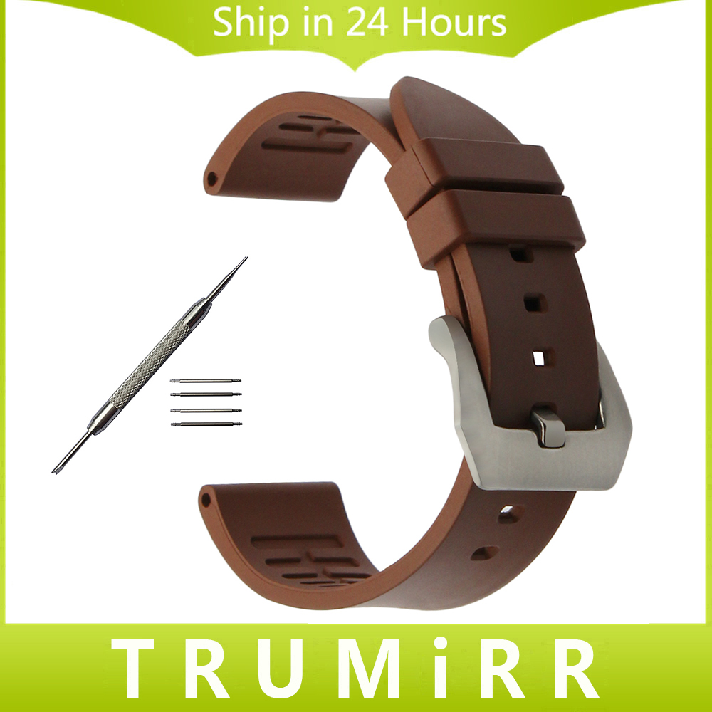 Fluoro Rubber Watchband 22mm 24mm Universal Watch Band Brushed Stainless Steel Clasp Strap Wrist Bracelet Black Brown Orange Red suunto core brushed steel brown leather