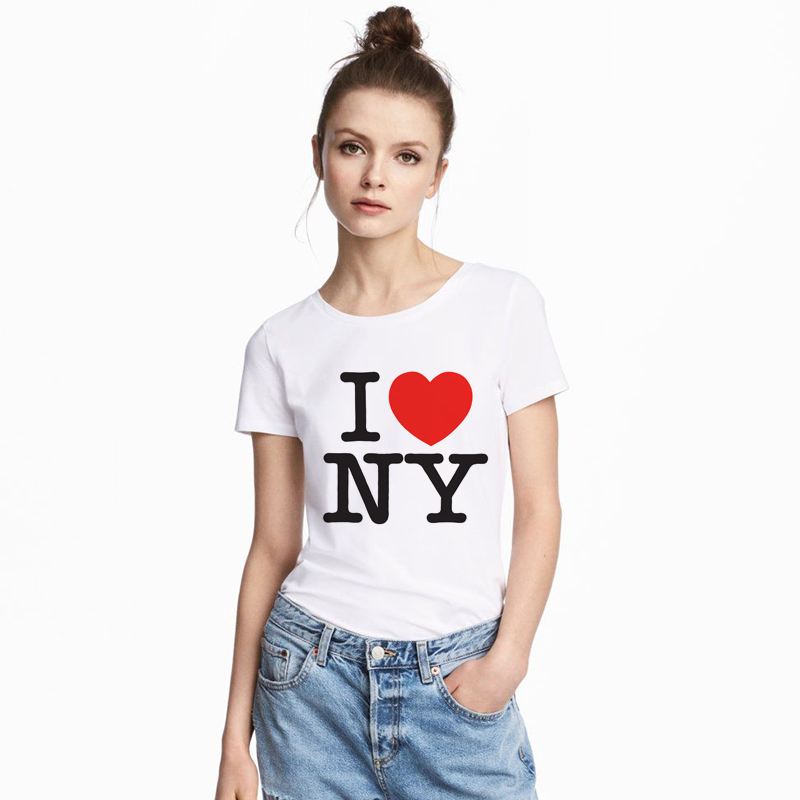 Women Casual   T     Shirts   for Summer I Love NY Yaoi Dalaas Argentina   T  -  Shirt   New York Printed Red Heart New High Quality   T     Shirt