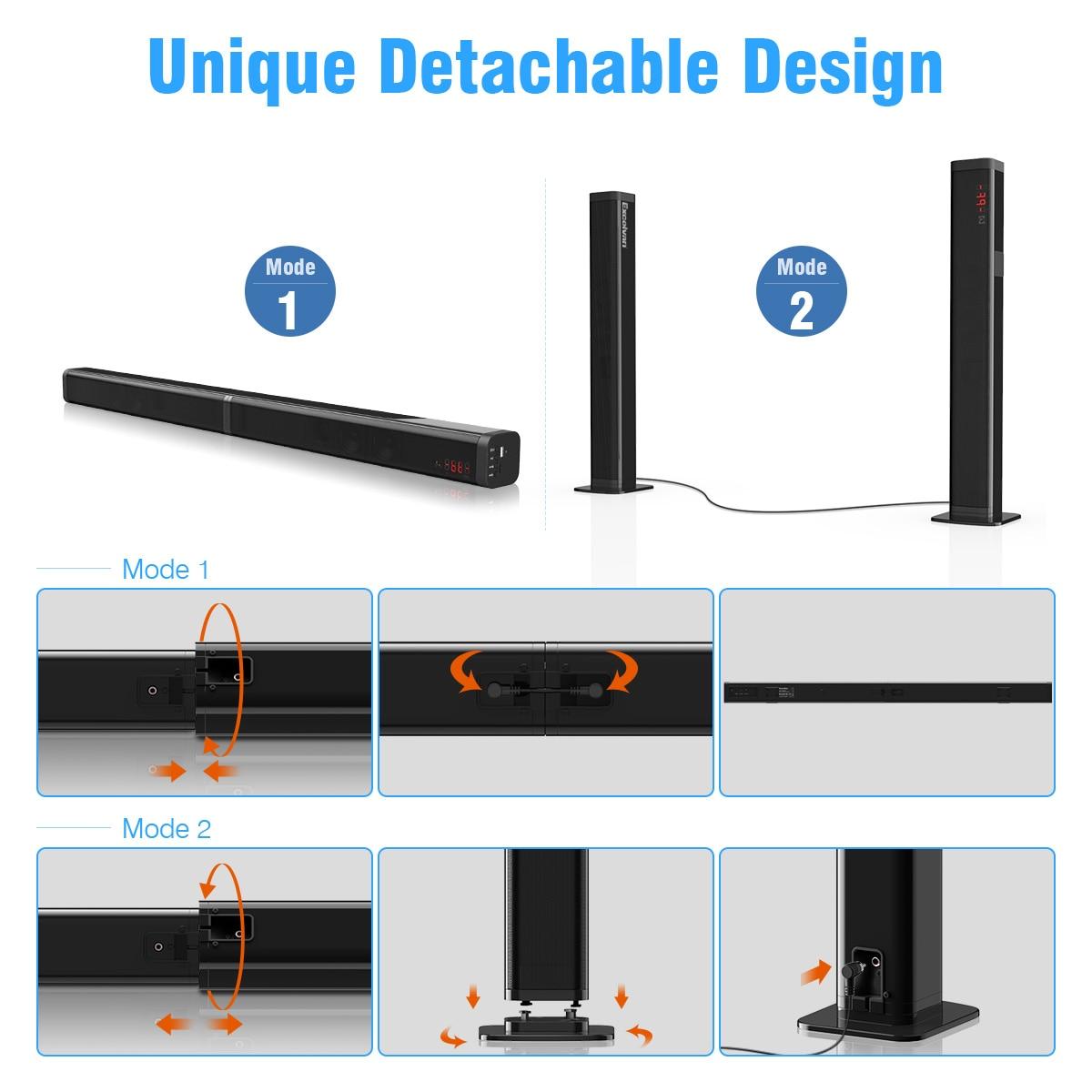 Excelvan 40 W amovible Bluetooth barre de son sans fil Bluetooth haut-parleur construit Subwoofe TV AUX optique barre de son stéréo Home cinéma - 5