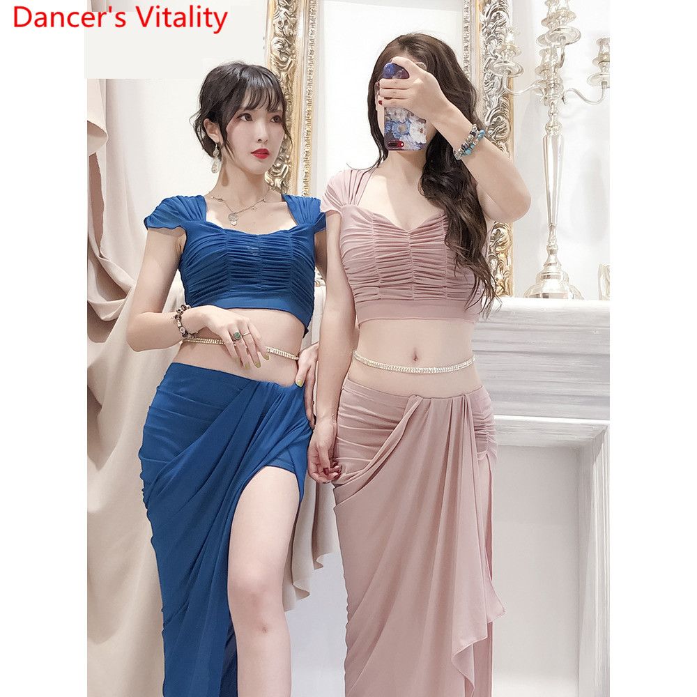 Image 2 - Belly Dance 2019 Training Clothes New Top Skirt Set Sexy Yarn Long Skirt Oriental Beginner Dancer Wear Outfits Summer SuitBelly Dancing   -