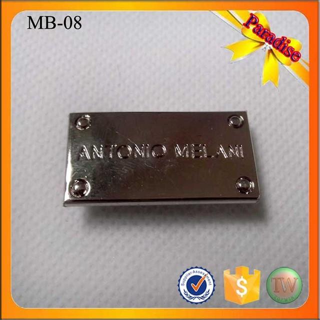 MB08 engraved designer custom metal label tags logo for leather bag clothing 37b633e4fcbcb