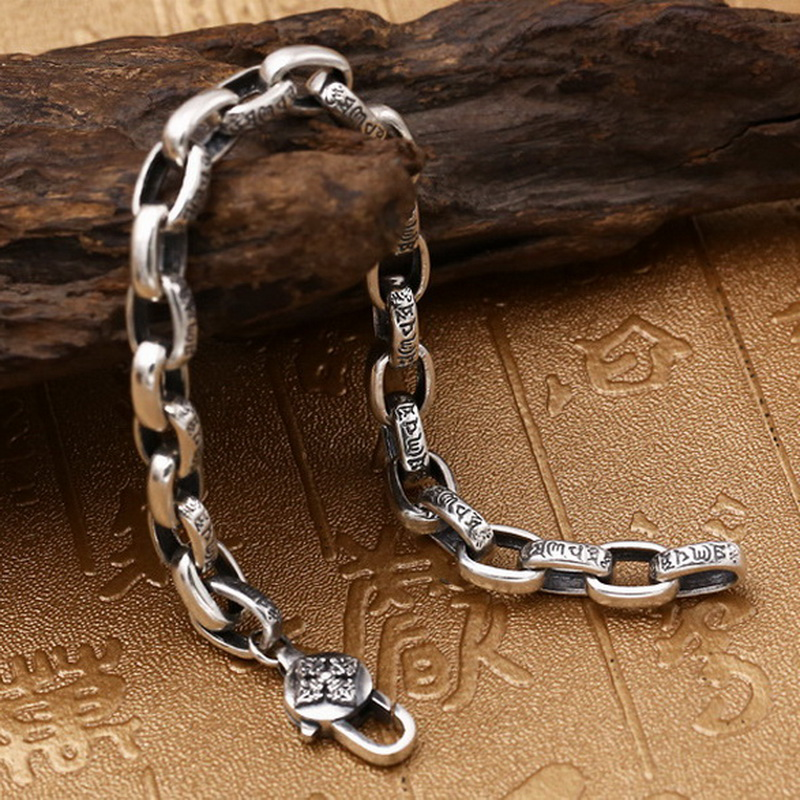 Pure Solid Silver 925 Tibetan Letters Cool Mens Bracelet Vintage Simple Chain Bracelet Sterling Silver Mens Jewelry Thai Silver 8mm solid pure sterling silver 925 mens chain bracelet simple cool style thai silver mens jewelry polished link chain free box