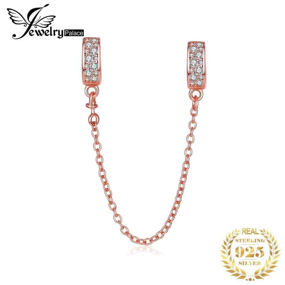 JewelryPalace Genuine 925 Sterling Silver Beads Charms fit Bracelets Chain Link Charms Rose Gold DIY Jewelry for Women Fashion