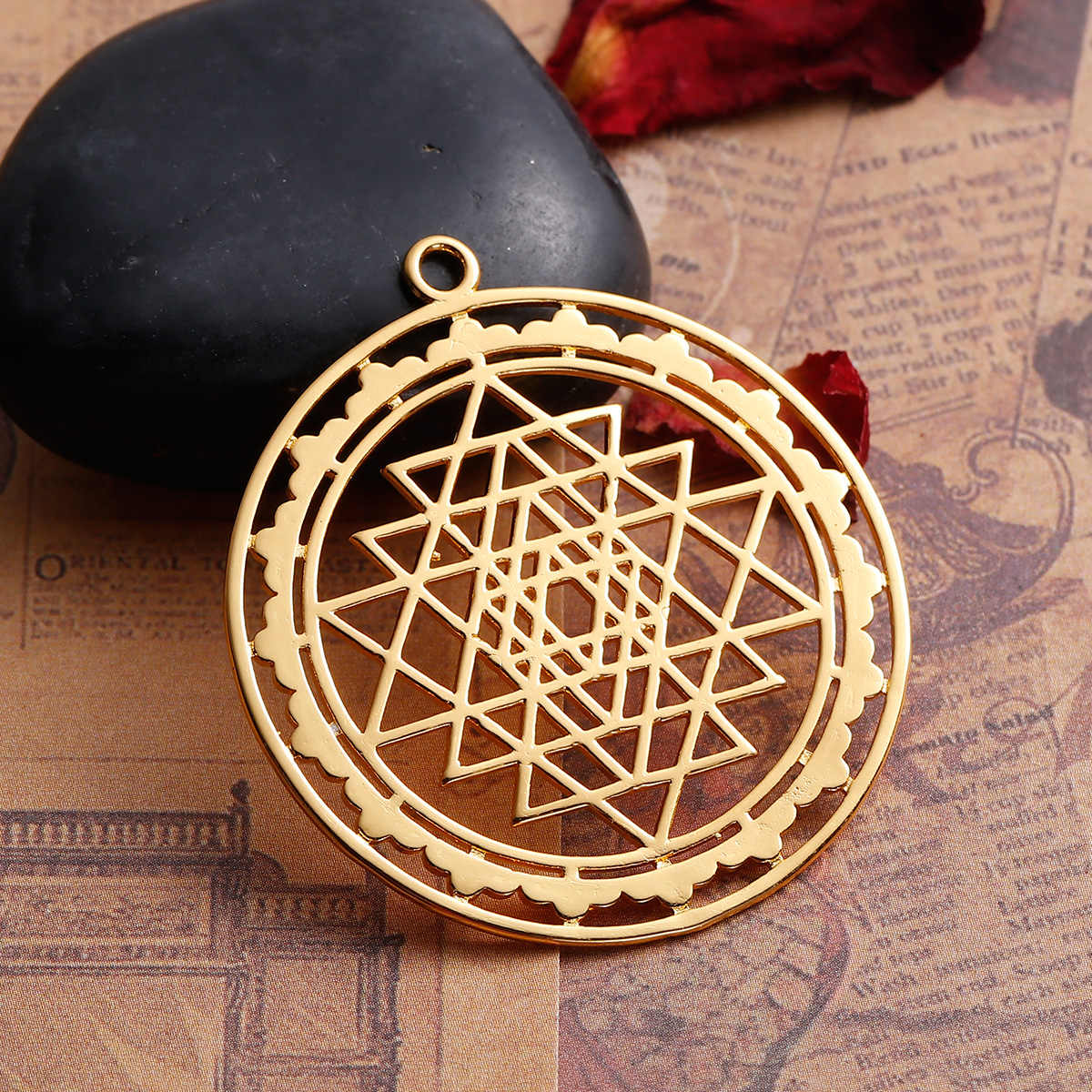 LASPERAL Gold /Silver Color Hollow Sri Yantra Pattern Pendant Fit DIY Necklace Jewelry Making Life Tree Shaped Pendant New
