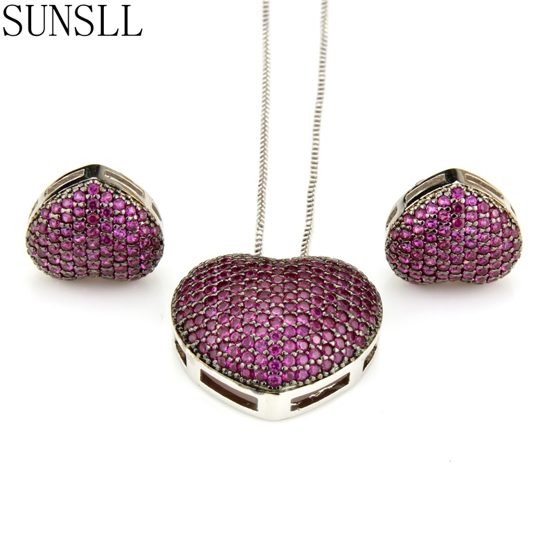 SUNSLL Two Color Copper Love Heart Multicolor Cubic Zirconia Stud Earrings And Pendant Necklaces Women's fashion Jewelry Sets
