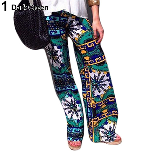 New Arrival Women's Summer Floral Pants Casual High Waist Flare Wide Leg Long Trousers