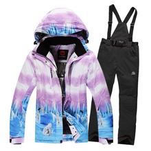 Winter Women Skiing Jacket+Pant Breathable Outdoor Snowboarding Suit Warmth Thicken Clothes Top On Sale 2016 Dropshipping