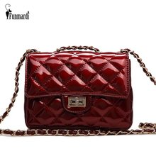 FUNMARDI Classic Plaid Shoulder Women Bags Patent leather Mini Crossbody Bags For Women Lock Design Chain Brand Bags WLHB1873(China)