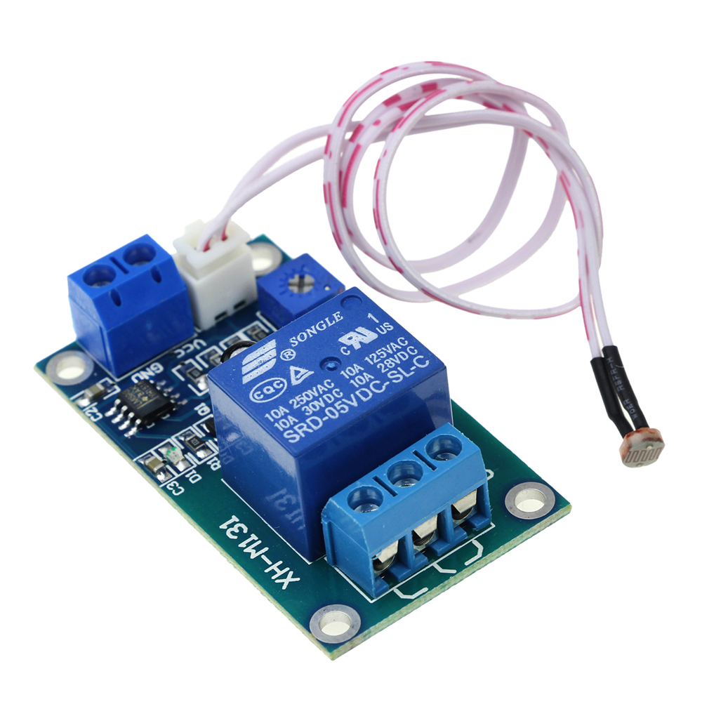 XH-M131 DC 5V Light Control Switch Photoresistor Relay Module Detection Sensor 10A brightness Automatic Control Module overcurrent protection switch module current detection board 12v 10a for dc motors short curcuid self stalled overload detection