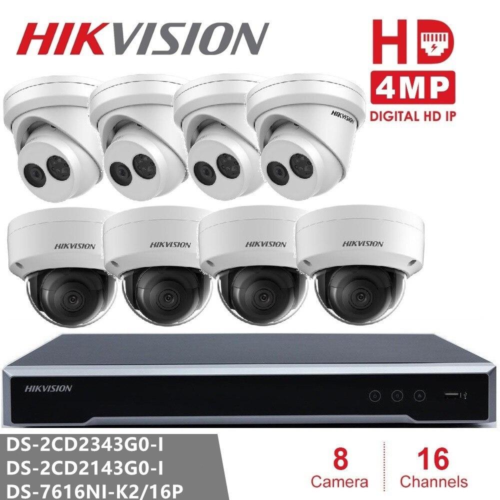 Hikvision безопасности Камера Наборы NVR DS 7616NI K2/16 P и Камера DS 2CD2343G0 I и DS 2CD2143G0 I 4MP IP Камера купол наблюдения Cam
