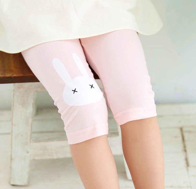 FT Cute Rabbit Printed Cotton Middle Rise Half Length Kids Girls Leggings Pants