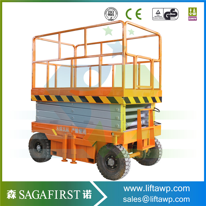 10m To 16m China Cheap Hydraulic Full Electric Scissor Lift Battery Power