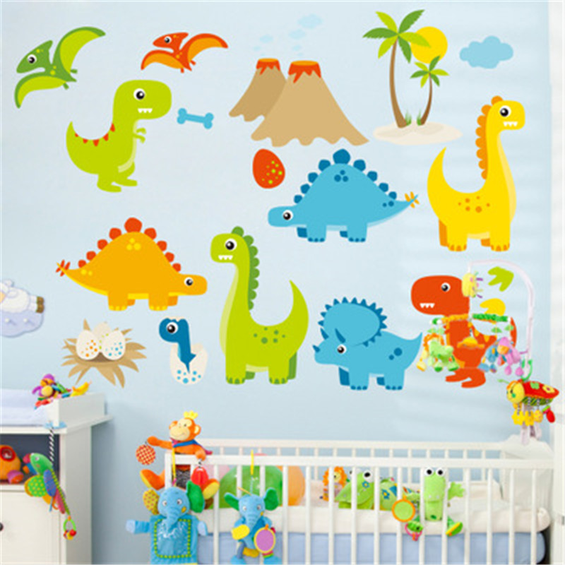 Cartoon Dinosaur Wall Stickers For Kids Room Home Decor Nursery Wall ...